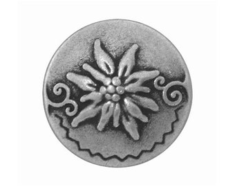 3 Round Edelweiss 7/8 inch ( 23 mm ) Metal Buttons Antique Silver Color
