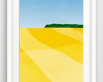 Landscape Art Print, Large Wall Art, Abstract Landscape, Minimalist Art, Blue Yellow Art