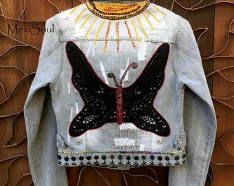 Hand Embroidered/Black Crochet Butterfly Recycled Denim Jacket, Distressed Denim Jacket, Wearable Art, MexiSoul Design, Free US Ship