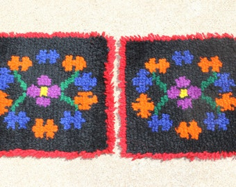 Vintage Pair of Hand Hooked Small Rugs Prayer Rugs Mexican Hand Made Handmade Shag Red Black Orange Purple Blue
