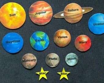 Solar System Planets Felt Board Set // Children //  Space  //  Flannel Board // Preschool // Planets // Stars