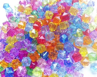 Set of 20 transparent acrylic cube beads