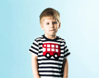 Bus T-Shirt, Baby T-Shirt, Toddler T-Shirt, Baby Boy T-Shirt, Stripe TShirt, Baby Boy Clothes, Baby Gift, 1st Birthday, Baby Shower Gift
