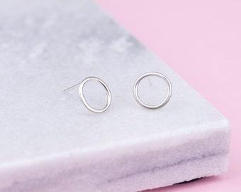 Handmade Sterling Silver Circle Stud Earrings