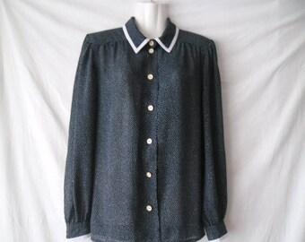 Jersey Ilany Vintage Polka Dot Blouse,Decorative Buttons Front Blouse,Long Sleeve Blouse,Semi Sheer Vintage Blouse,Dark Blue White Blouse