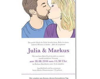Print Yourself Wedding Invitations Design with Custom Portrait