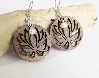 Lotus Flower Earrings, 5th Wedding Anniversary Gift, Wood Dangle Earrings, Handmade Earrings, Meaningful Gift, Pearl Earrings, Zen Inspired