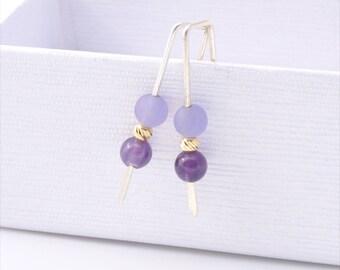 Amethyst Earrings, Amethyst Jewelry, Gemstone Earrings, Sterling Silver, February Birthstone, Sterling Silver, Purple Earrings, Gift For Her
