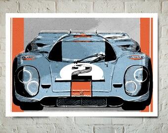 Car Art - Porsche 917 Gulf race car - Auto Art, Automotive Decor, Man Cave Art, Car Gift, Art Print, Race Car Poster, Garage Art