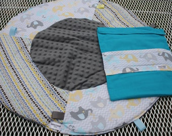 Travel Play Mat elephant gender neutral print baby tummy time baby shower gift