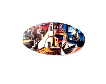 Large Oval Shape Colorful 3 Dimensional / 3D Abstract Tropical, Italian, or Mexican City Scene Resin Hair Barrette / Hair Clip