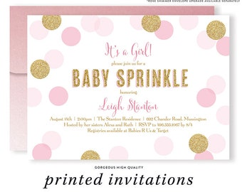 BABY SPRINKLE INVITATION Blush Pink & Gold Baby Shower Glitter Confetti Pink Printed Baby Girl Invitations for Baby Shower Sprinkle Invites