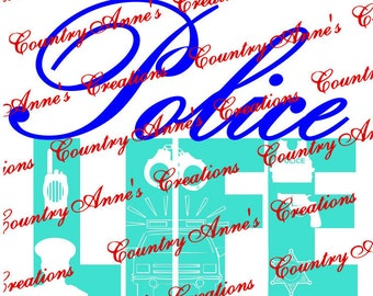 """SVG PNG DXF Eps Ai Wpc Cut file for Silhouette, Cricut, Pazzles, ScanNCut  -""""Police Life 6 pointed star""""  svg"""