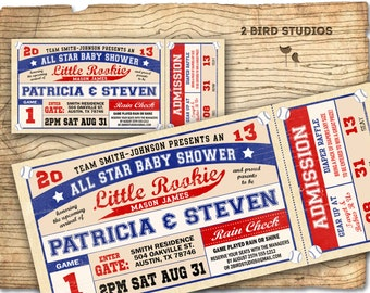 Baseball baby shower invitation - baseball baby shower boy invite- DIY baseball ticket boy couples shower sports printable decorations