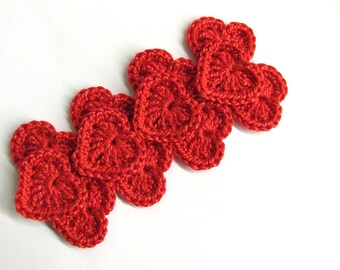Crochet hearts 0.8 inches red, 12 pc. tiny cotton appliques