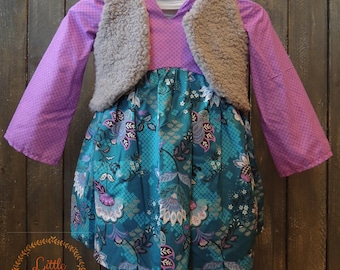2T Purple and Teal Floral Tunic Top with Grey Vest