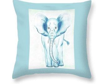 Blue Elephant Throw Pillow, Throw Pillow, Nursery Pillow, Kid's Bedroom Pillow, Elephant Pillow