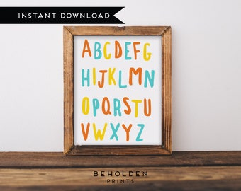 Digital Download, ABC Wall Art, Nursery Wall Art, Alphabet Letters, Alphabet Prints, ABC Print, Nursery Decor, Nursery Prints