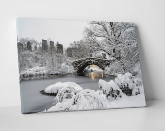 New York City Central Park Gapstow Bridge Skyline Gallery Wrapped Canvas Print