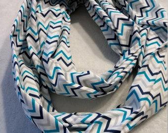 blue and aqua chevron stripes on cotton infinity scarf