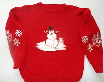 Snowman, Winter Themed Sweater, Custom Design, Handmade