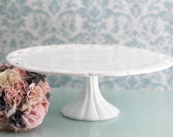 Milk Glass Cake Stand / 14\  Wedding Cake Pedestal for White Milk Glass Weddings / Cupcake Stand / Lace Lattice Milkglass CakeStand RocheStudioVintage & Creative Cake Plates \u0026 Stands curated by Polka Dot Bride on Etsy
