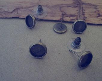 20pcs 8mm Antique bronze Stud Earrings Base