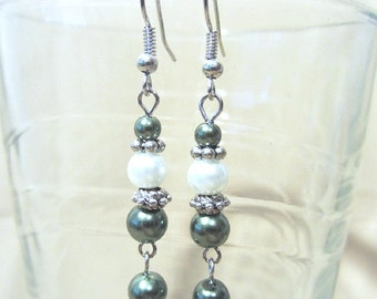 Dark Green & White Stacked Pearl Dangle Earrings, Colored Pearl Earrings, Handmade Beaded Jewelry, Simple Elegant Modest Ladies Gift Idea