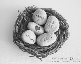 Family Nest, Custom Name Art, Personalized Names, Name on Stone Rocks Print, Personalised Print, Mothers Nest, Custom Name Nest Art Print