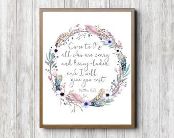 Matthew 11 :28 Scripture Wall Art - Watercolor Flower & Feather Wreath - Come To Me Bible Verse - Christian Gift - 16 x 20 - 11 x 14 - 5 x 7