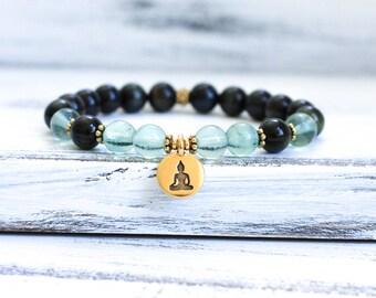 Mala Bracelet, Wrist Mala Beads, Blue Tiger Eye w Fluorite Boho Bracelet, Yoga Jewelry, Spiritual Jewelry, Healing Jewelry
