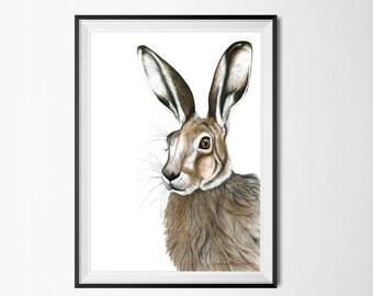 A4 hare poster, print for nursery, nursery animal print, rabbit print, rabbit poster, woodland nursery, woodland prints, woodland artwork