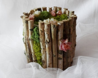 Customizable wedding card box, personalized wedding card basket with your flower, rustic wedding moss card box, wedding basket, wishes box
