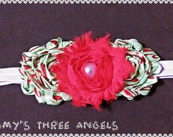 Red and Green Shabby Flower Christmas/Holiday Inspired Elastic Headband MADE TO ORDER