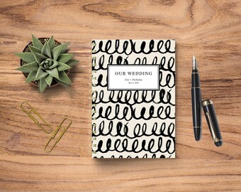 Wedding Planning Notebook, Wedding Journal, Wedding Notebook, Personalized Wedding Planner, Personalized Notebook, Squiggle Brushstrokes