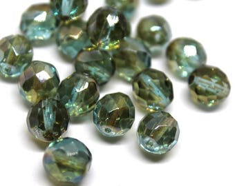 10 mm Light Aqua Celsian Faceted Round Beads