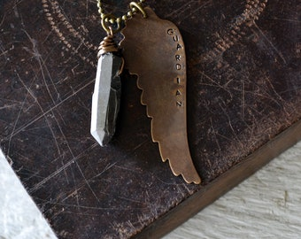 Guardian Necklace - Handstamped Necklace - Angel Wing Necklace - Guardian Angel - Quartz Crystal Point - Handstamped Jewelry -