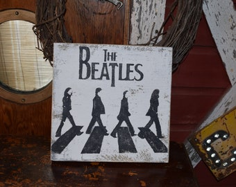 Beatles Inspired painted barn wood sign Abbey Road