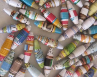 Paper beads, large-new size, hand rolled, each is ooak, jewelry making, garlands, 25 beads