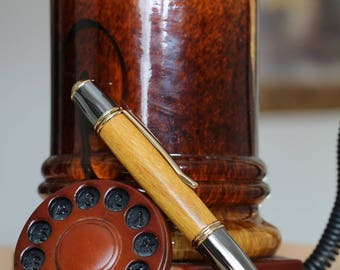 Gunmetal/Gold, Osage Orange Wood Gatsby Pen