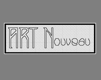 Cross stitch alphabet: art nouveau style lettering
