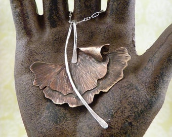 Organic Ginkgo Leaf Necklace
