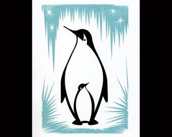 5x7 Penguin Gocco Print Penn & Gwen Wall Art Nursery Decor Screenprint Animal Lover Original Illustration Ice Blue Wall Art Signed Numbered