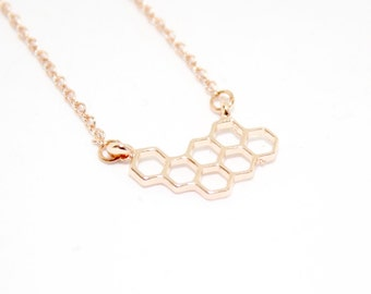 Rose Gold Necklace, Rose Gold Honeycomb, Honeycomb Necklace, Beehive Necklace, Honeycomb Jewellery, Delicate Jewelry, Charm Necklace