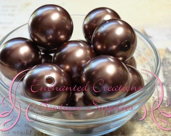 24mm Toffee Brown Acrylic Pearl Beads Qty 6