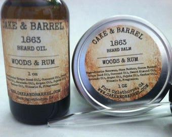 1863 Woods & Rum Beard Set. Beard Balm and Beard Oil 1oz.