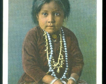 Navajo Girl Yaz-Yah Hopiland Arizona Vintage Photo Postcard