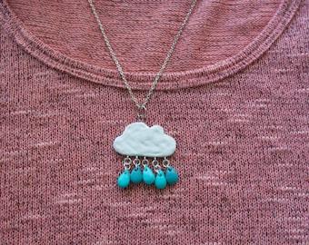 Rain cloud necklace charm, polymer clay charm, kawaii rain cloud necklace, kawaii necklace charm, birthday gift, handmade clay jewelry