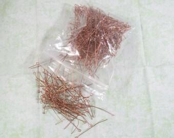 400 Eye Pins Ant Copper 50mm long, 0.7mm (B363b)
