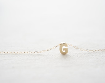 "Gold Letter, Alphabet, Initial capital ""G"" necklace, birthday gift, lucky charm, layered necklace"